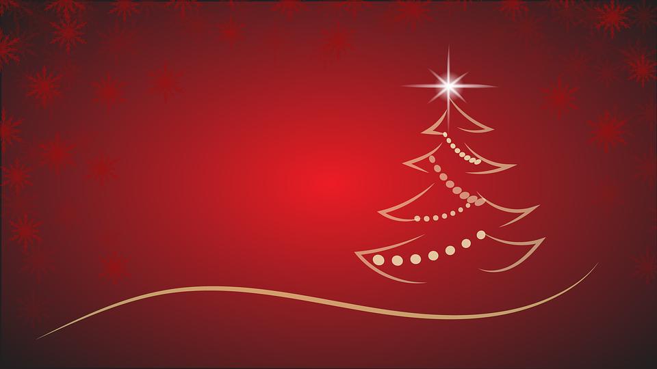 Christmas, Christmas Tree, Backdrop, Red, White