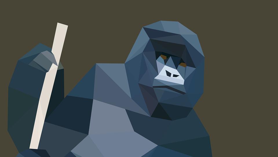 Monkey, Low Poly, Gorilla, Background, Animals