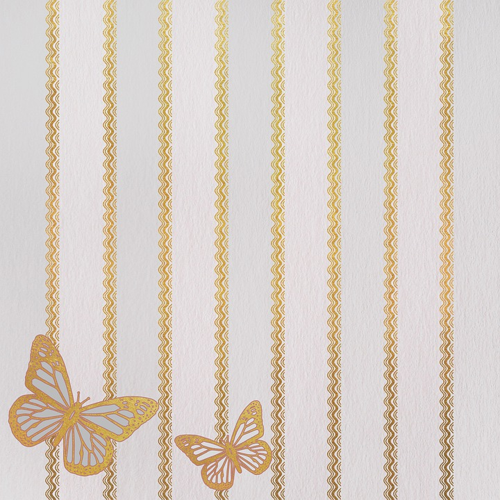 Stripes, Golden, White, Butterflies, Background