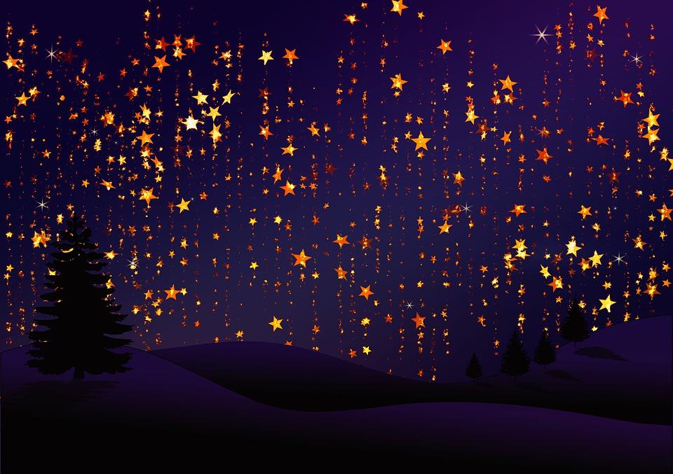 Christmas, Background, Star, Curtain, Celebration