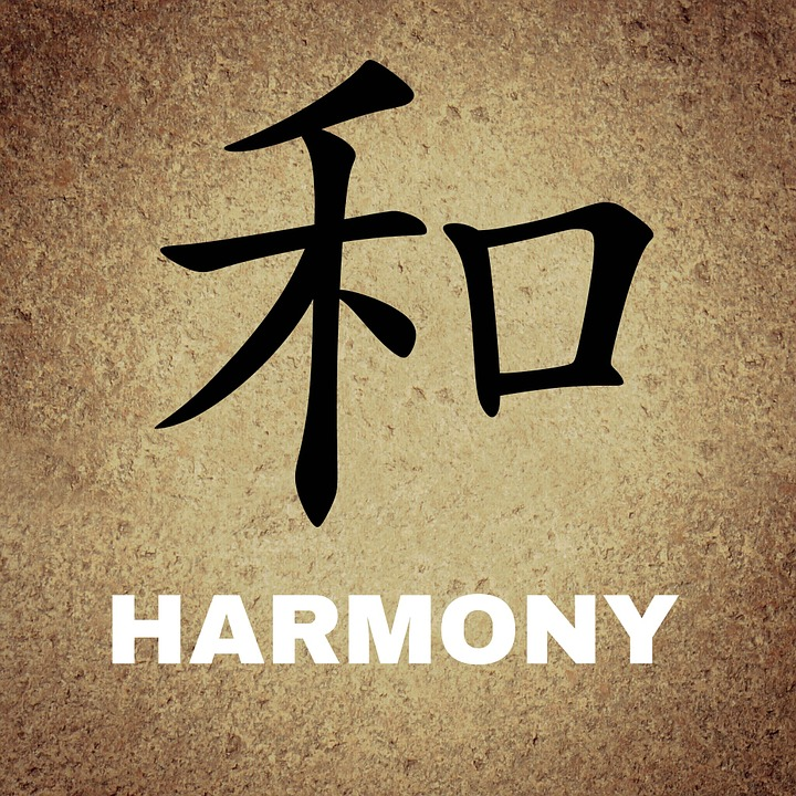 Chinese, Characters, Background, Harmony