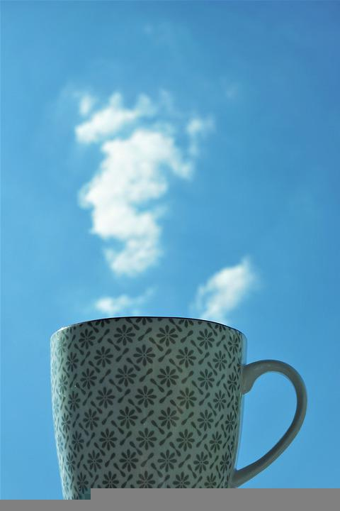 Cup, Clouds, Steam, Coffee, Tee, Drink, Background