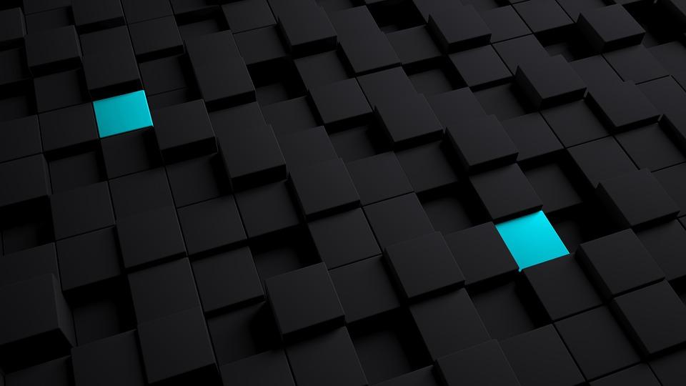 Model, 3d, Background, Cube, Blue, Dark, Texture
