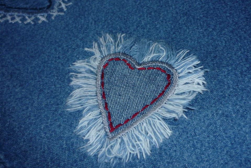 Background, Fabric, Jeans, Heart, Love, Textile