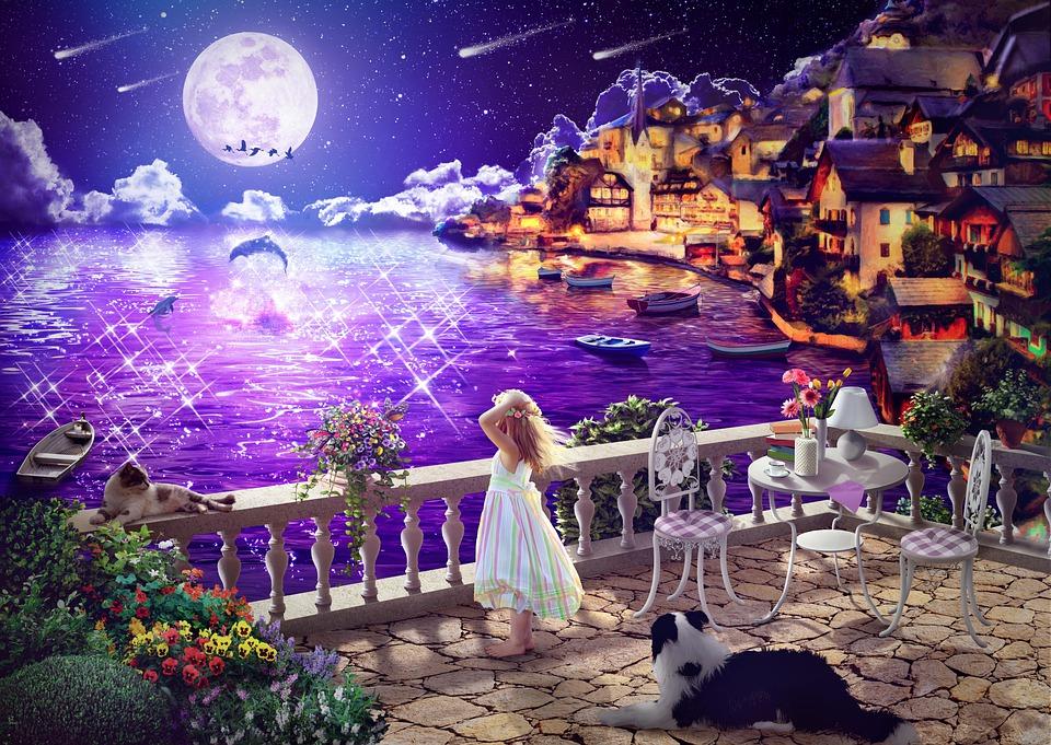 Background, Fantasy, Night View, Girl, Dream, Female