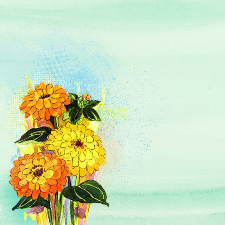 Flower, Yellow, Painting, Background, Green, Watercolor