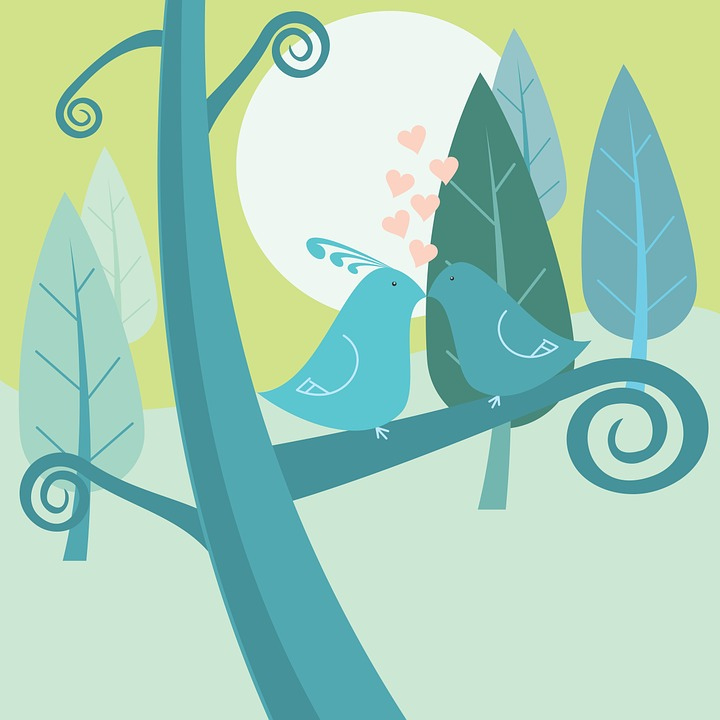 Birds, Love, Background, Branch, Cartoon, Forest, Heart