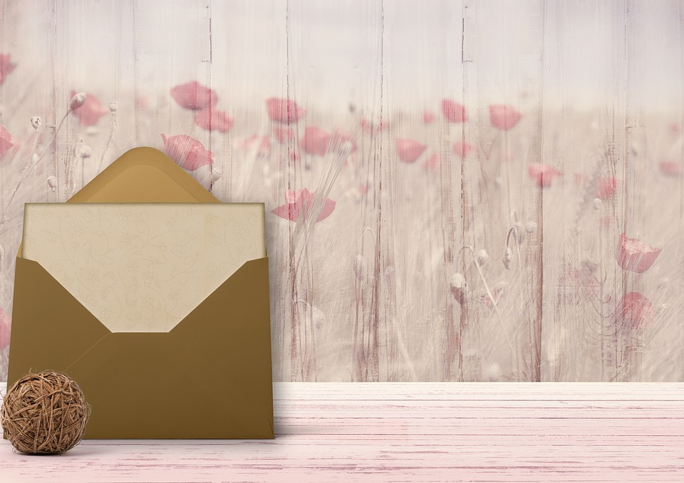 Background Image, Letters, Envelope, Flowers