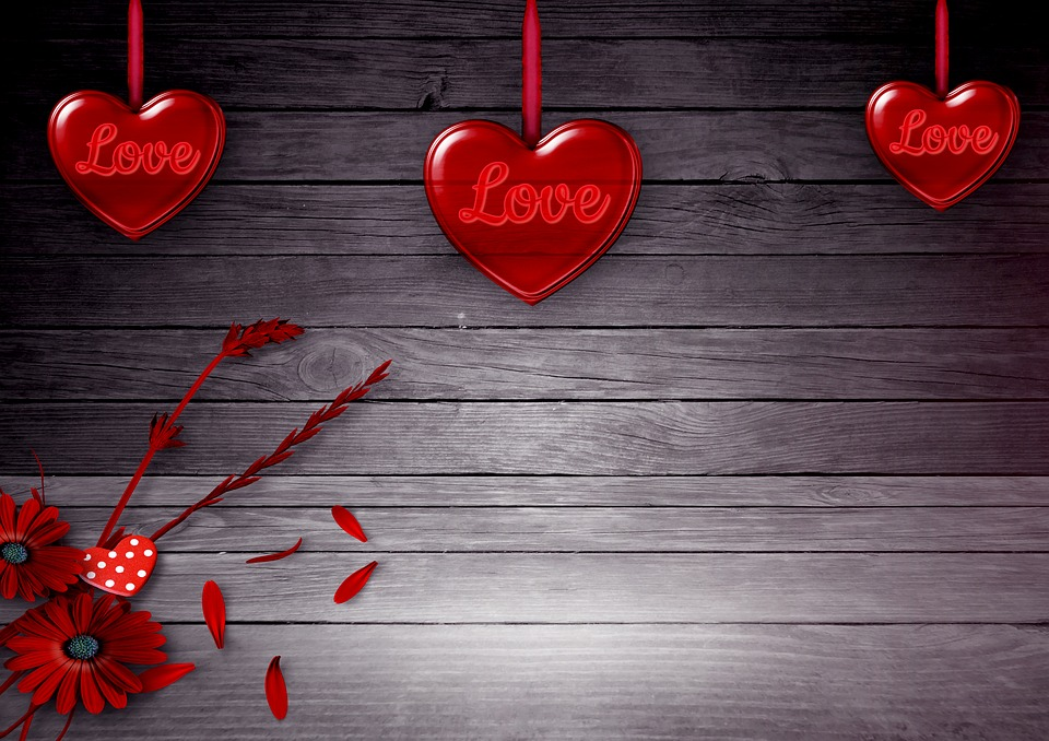 Heart, Flowers, Background Image, Valentine's Day, Wood
