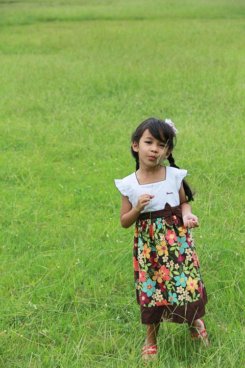 Kids, Lady, Mead, Flowers, Cute, Background, By Nature