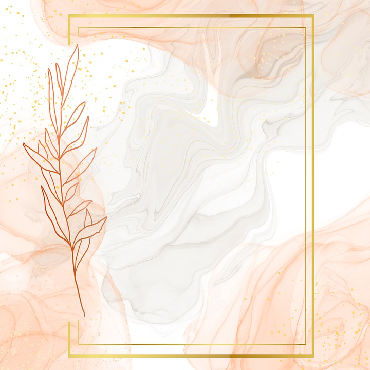 Leaves, Marble, Frame, Background, Pink, Apricot