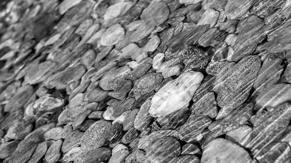 Stones, Water, River, Black, White, Nature, Background