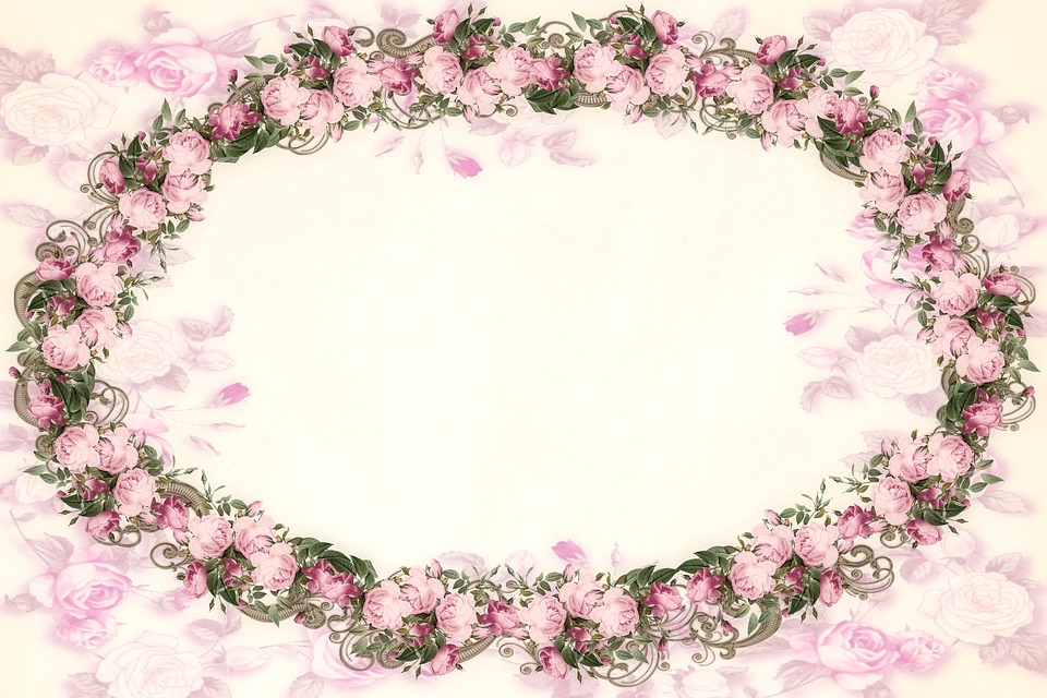 Pink Roses Oval Frame Background Vintage