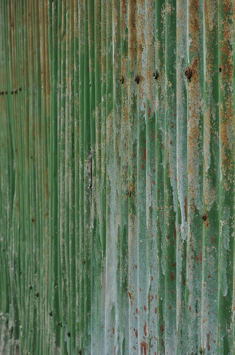 Iron, Corrugated, Rust, Green, Paint, Background