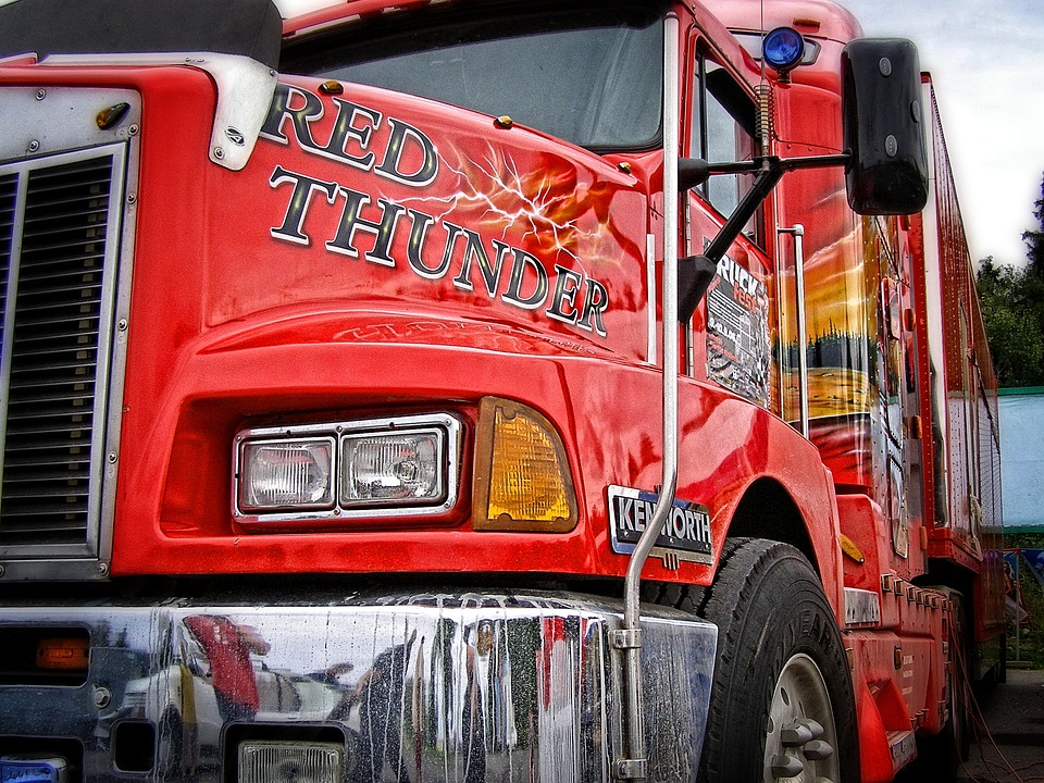 Wallpaper, Background, Red American Truck, Lorry, Red