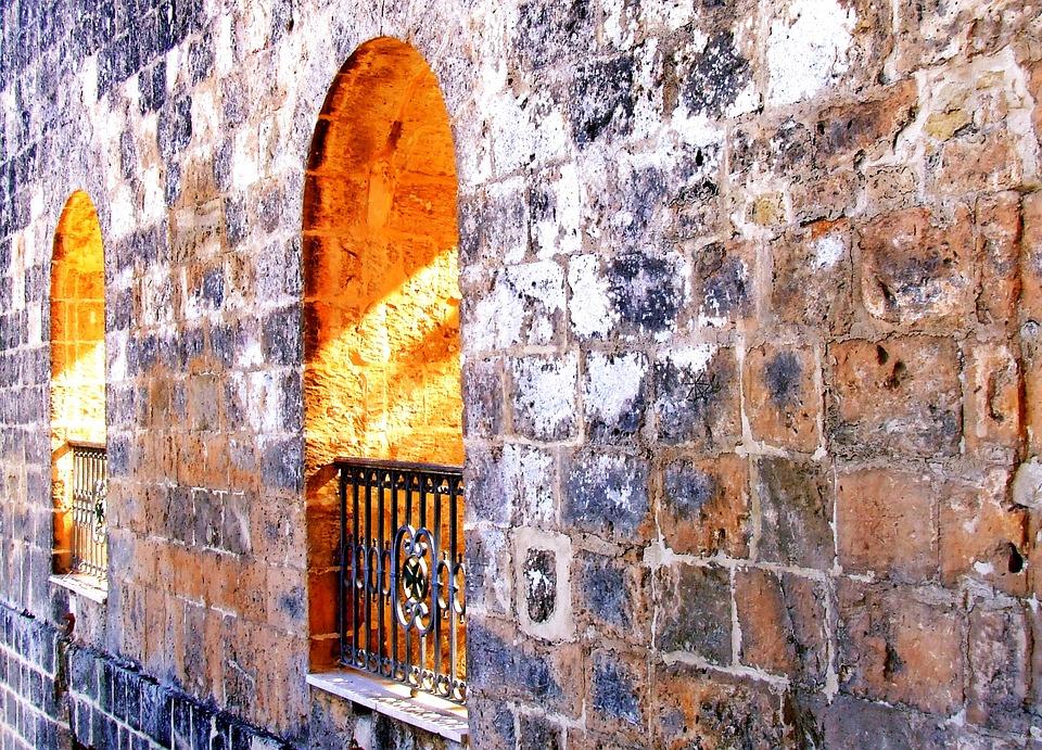 Stone Wall, Arches, Window, Background, Stone