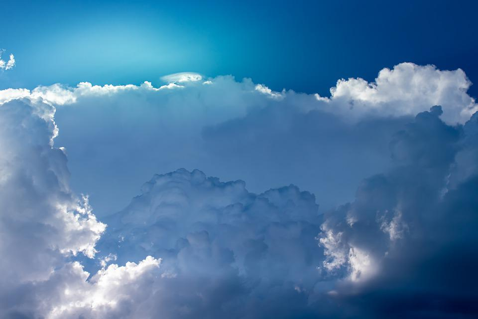Clouds, Sky, Light, Sun, Sunbeam, Blue, Background