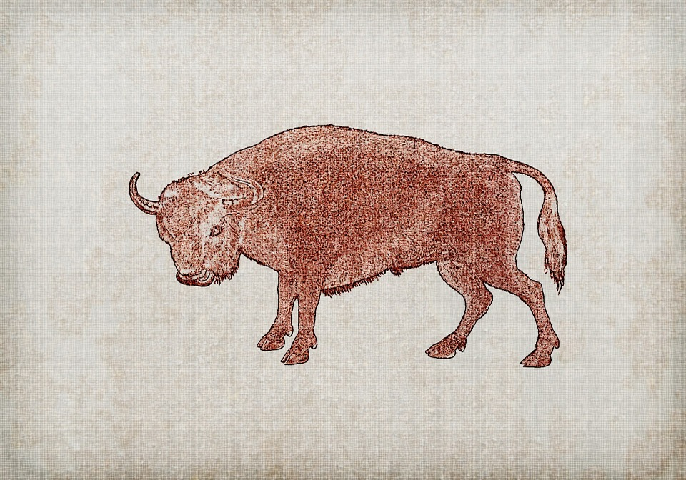 Bull, Red, Animal, Vintage, Texture, Background, Linen