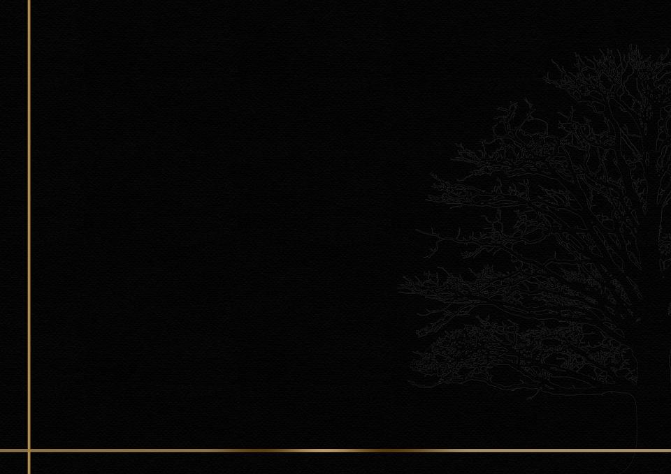 Trauerkarte, Frame, Background, Gold, Black, Tree