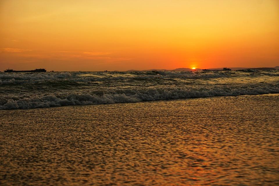 Cambodia, Sea, Background, Nice, View, Evening
