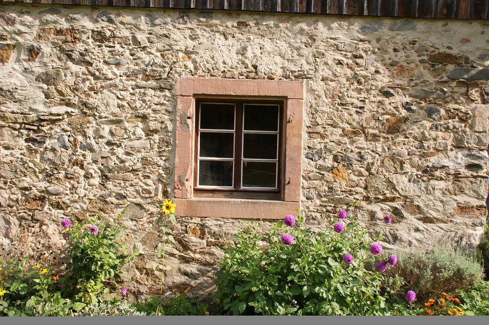 Facade, Window, Stone Wall, Background, Wall