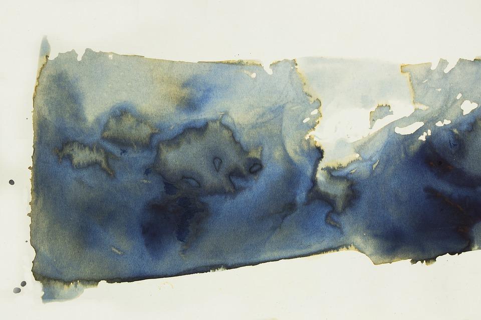 Watercolour, Blue, Background, Texture, Course