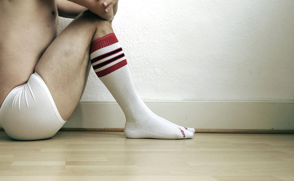 Wall, White, Socks, Underwear, Sit, Background