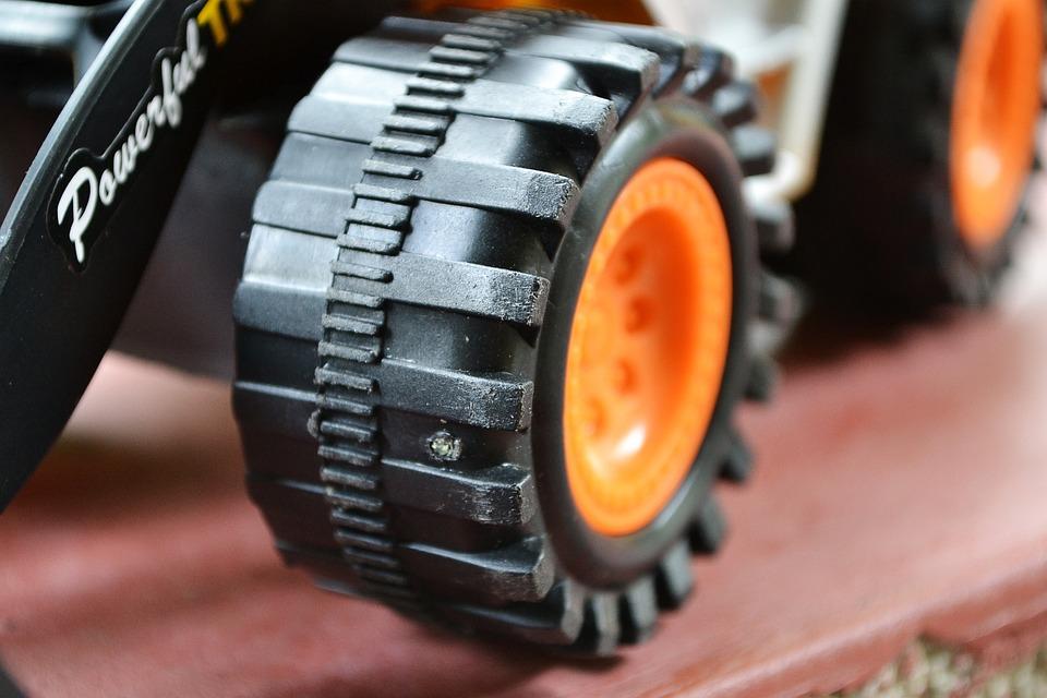 Toy, Plastic, Dozer, Backhoe, Close-up, Wheels