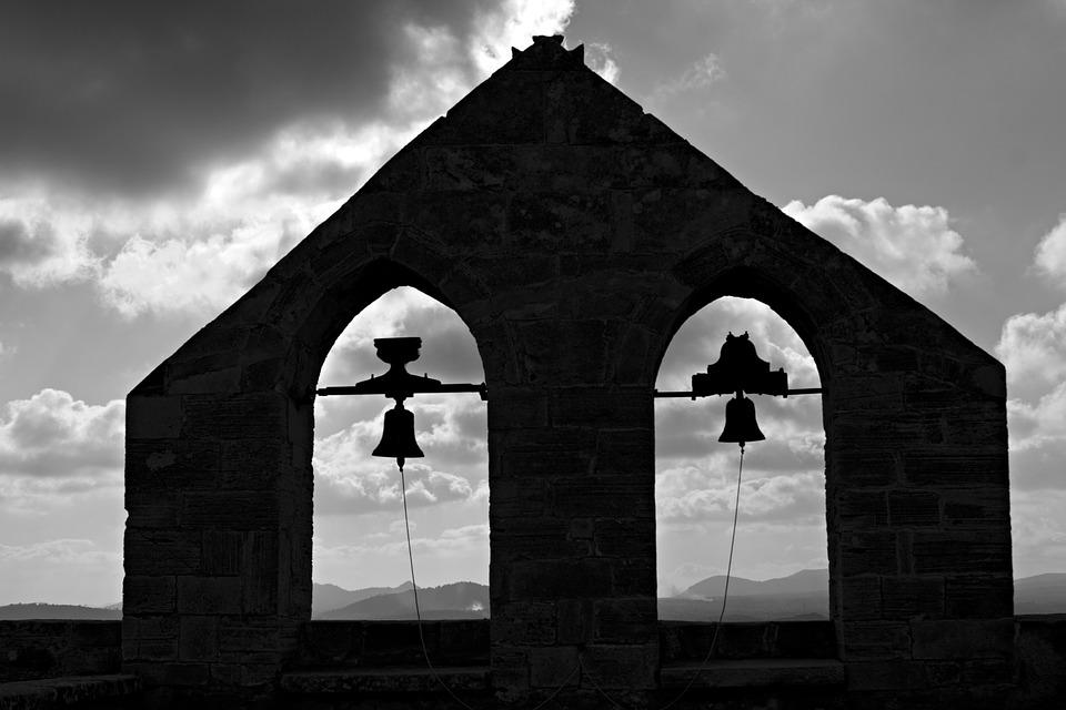 Bell Tower, Backlight, Black And White, Clouds