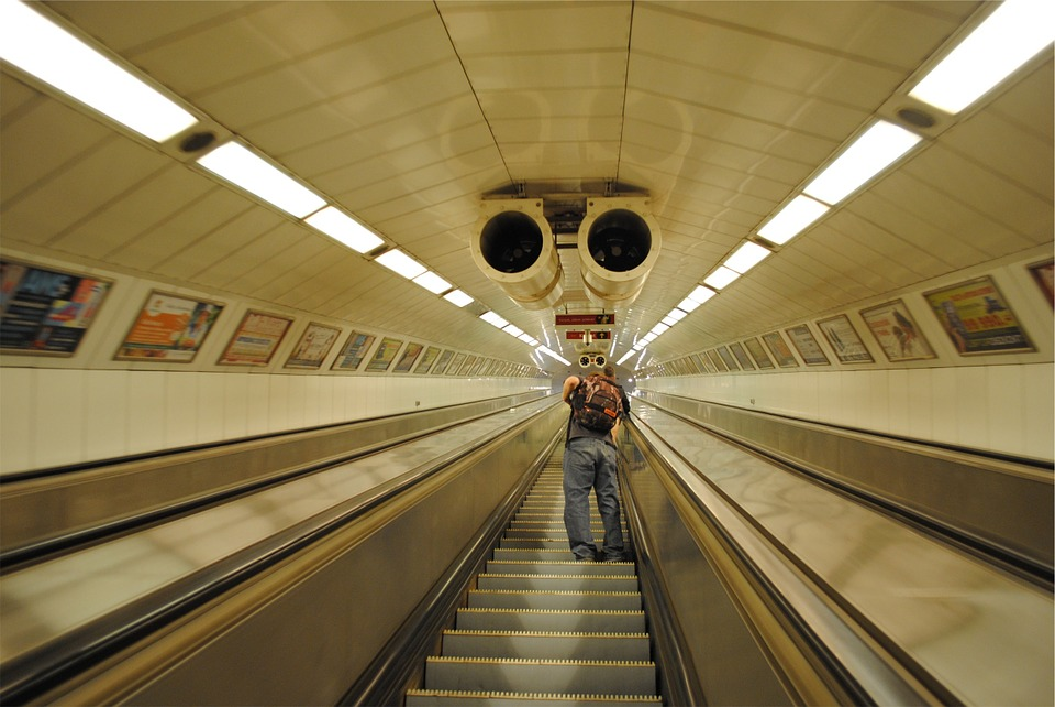 Escalator, Subway Station, Guy, Backpack, Knapsack