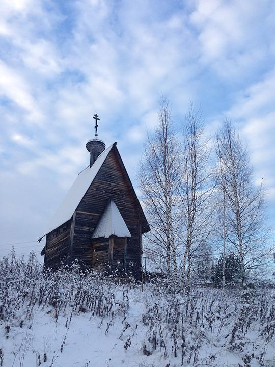 Church, Chapel, Winter, Backwoods, Countryside, Village
