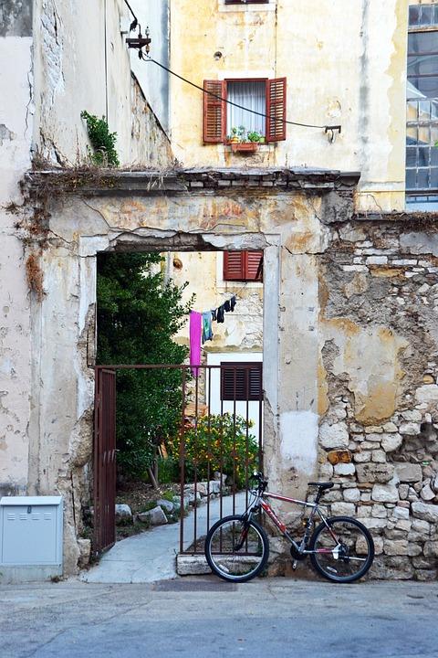 Backyard, Zadar, Bike, Croatia, Goal, Old, Wall