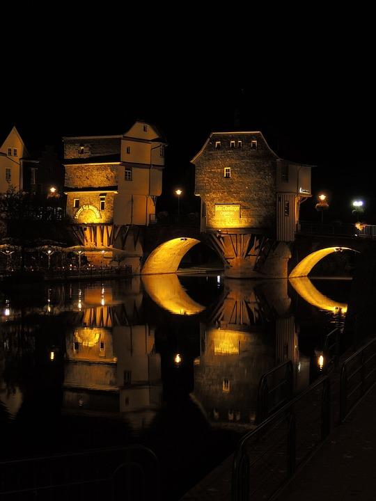Bridge Houses, Bad Kreuznach, Water Reflection