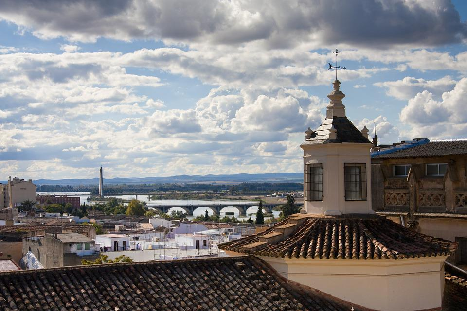 Badajoz, Guadiana, Bridge, Dome, River, Clouds