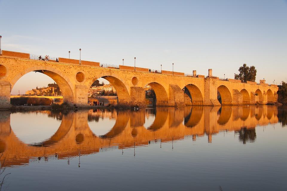 Bridge, Badajoz, Guadiana, Sunset