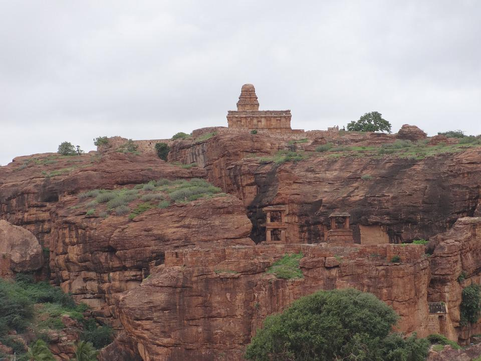 Sandstone, Badami Rocks, Red, Caves, Badami, Temple