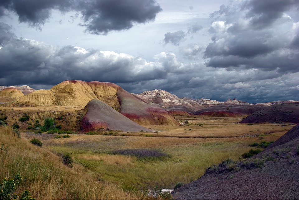 Stormy Badlands, Badlands, National, Landscape, Usa