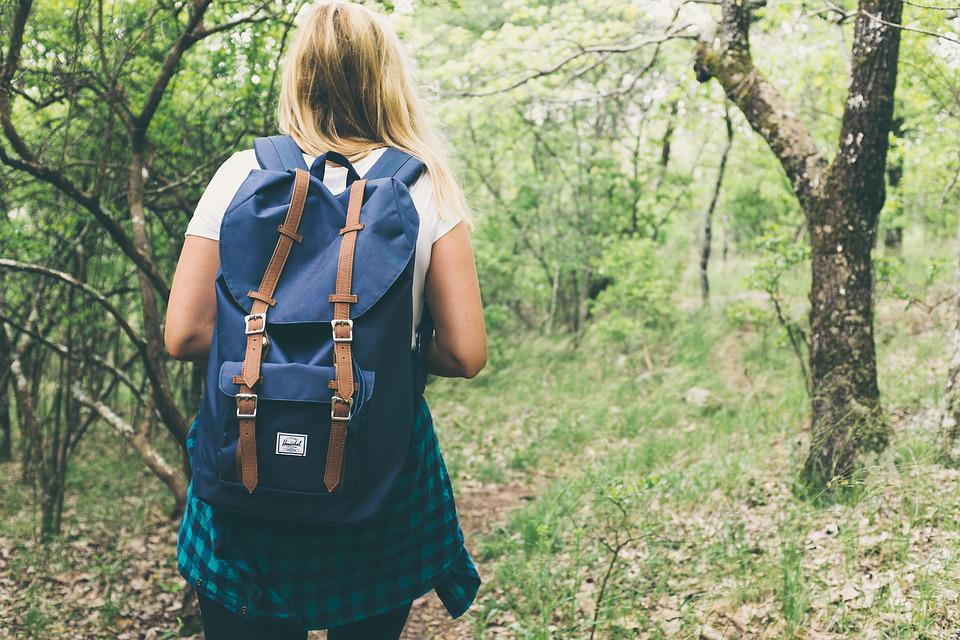 Backpack, Bag, Beautiful, Facing Away, Female, Forest