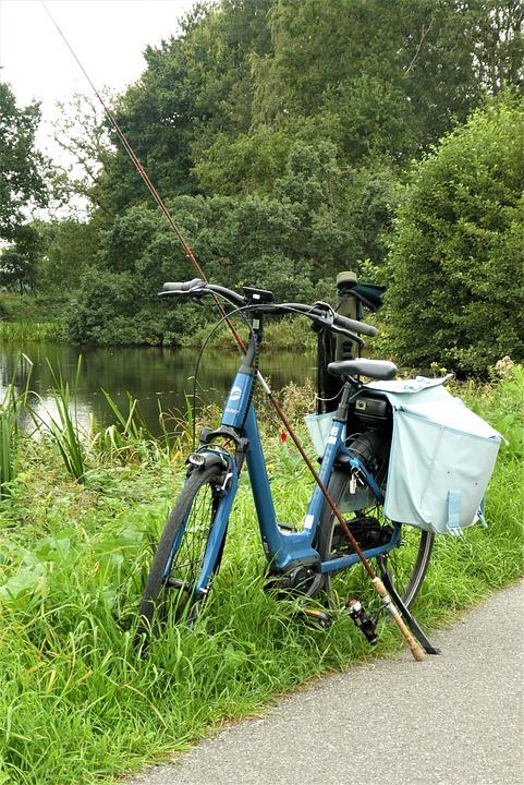 Bicycle, Fishing Rod, Fishing Tackle, Countryside, Bag