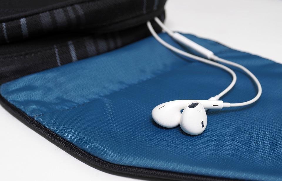 Headphones, Bag, Listen To Music, White, Travel
