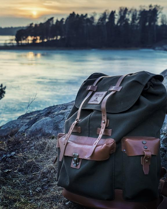 Backpack, Bag, Lake, River, Trees, Water