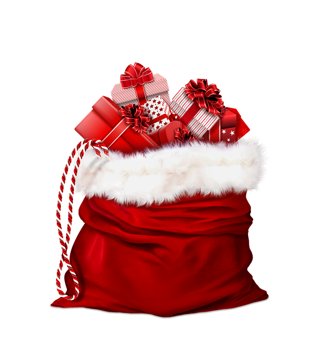 Santa Claus, Gifts, Red, Bag, Christmas Present