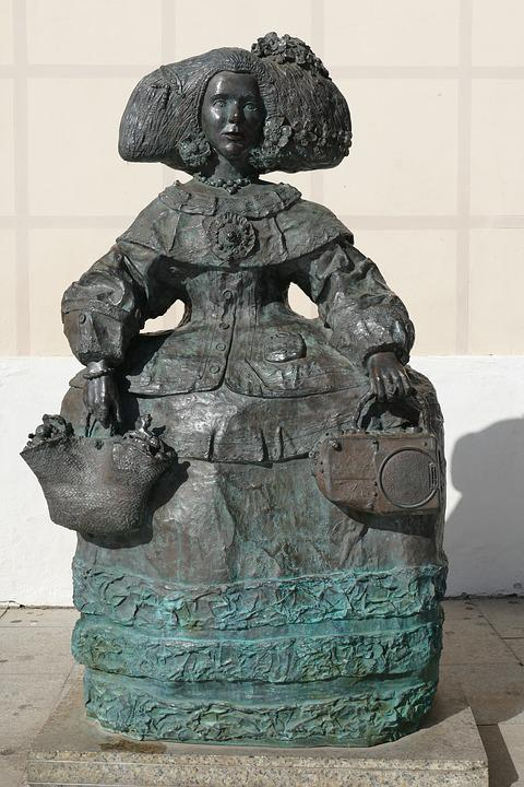 Statue, Image, Brass, Art, Sculpture, Woman, Bag