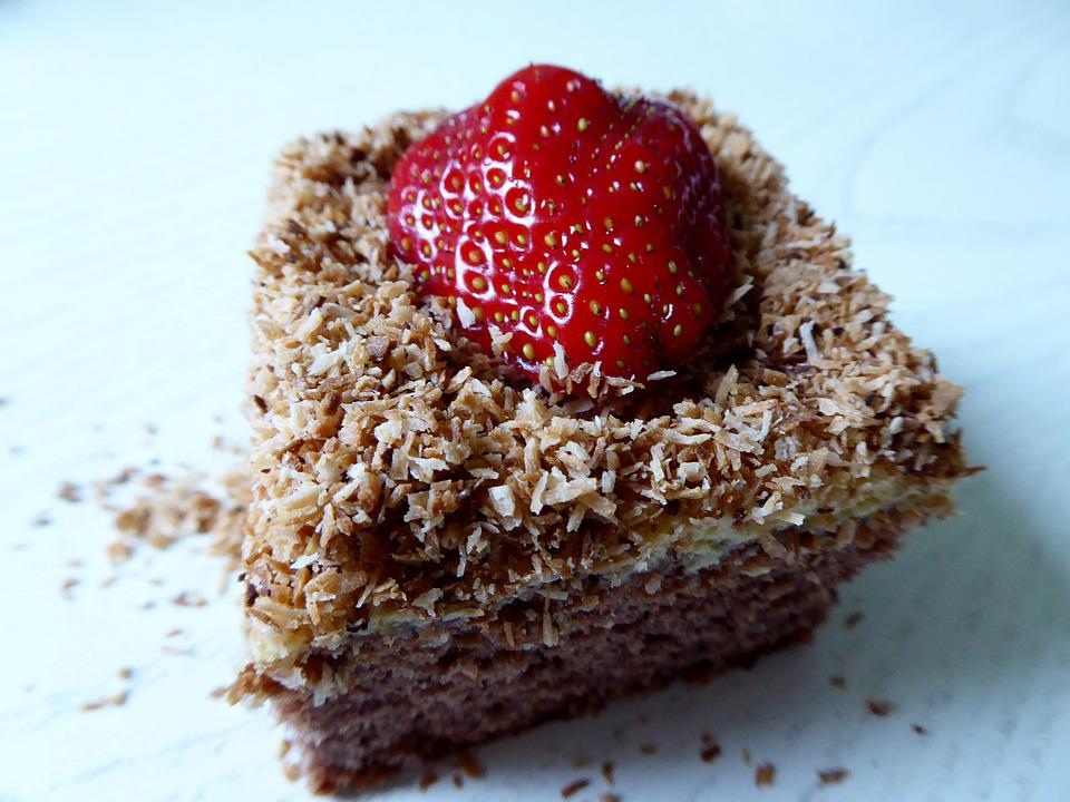 Cake, Pastries, Strawberry, Coconut, Sweet, Bake