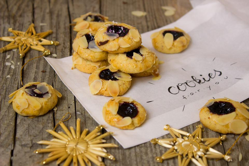 Cookies, Christmas, Jam, Almonds, Advent, Bakery