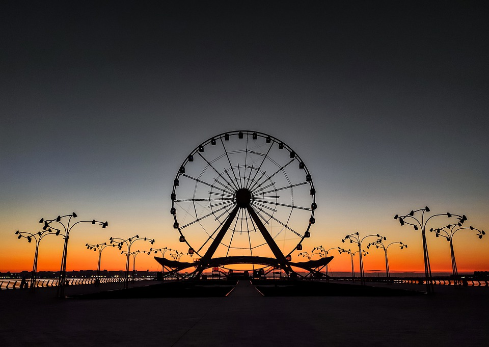 Baku Eye, Ferris Wheel, Sunrise, Sea, Morning, Water