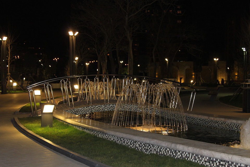 Baku, Azerbaijan, Night, Evening, City, Fountain, Water