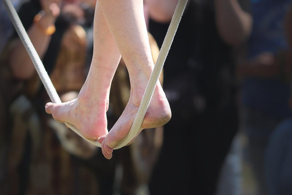 Acrobat, Rope Dancer, Balance, Rope, Feet, Legs