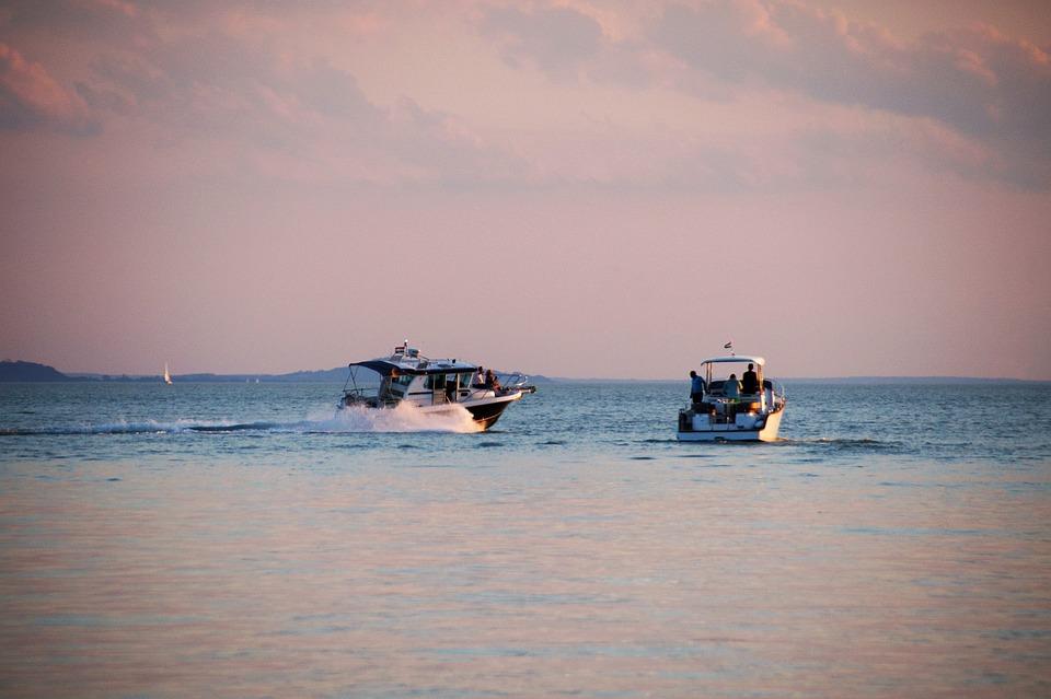 Lake, Balaton, Evening, Sunset, Ship, Rowboat