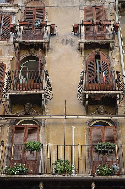Balconies, Balcony, Italy, Verona, Typical Italian